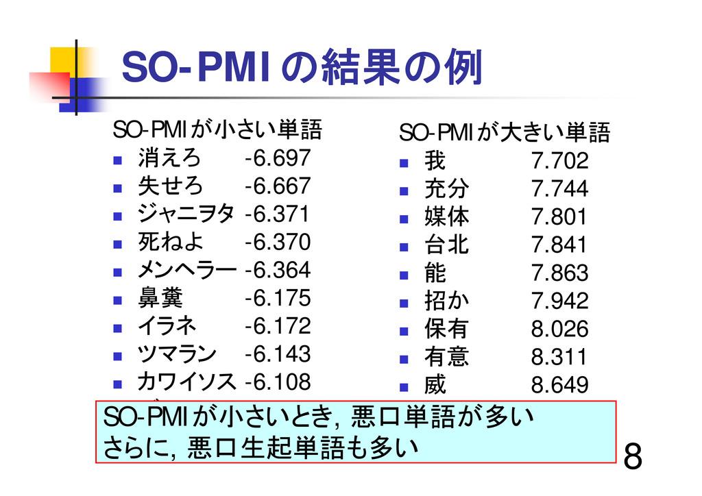 "8 SO-PMIの結果の例 SO-PMIが小さい単語 "" 消えろ -6.697 "" 失せろ -..."