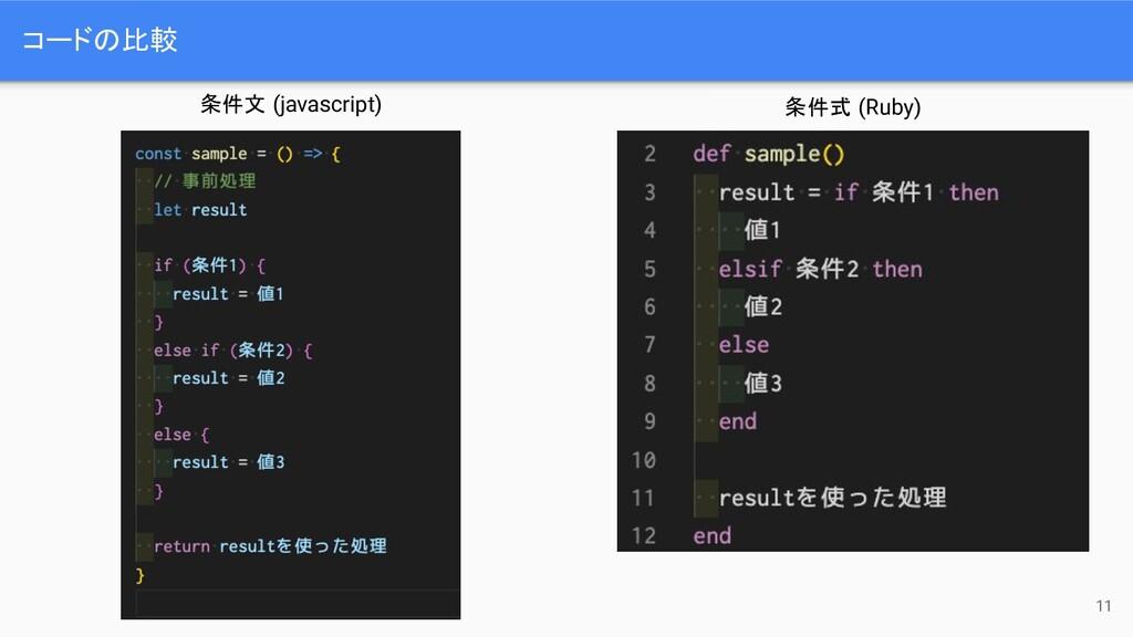 コードの比較 11 条件文 (javascript) 条件式 (Ruby)