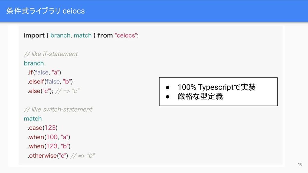 条件式ライブラリ ceiocs 19 ● 100% Typescriptで実装 ● 厳格な型定義