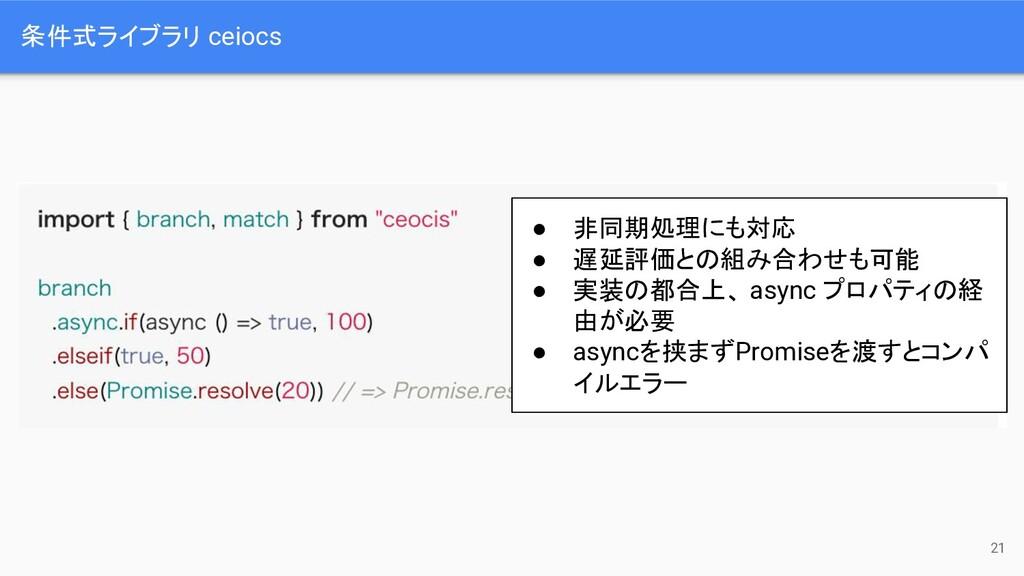 条件式ライブラリ ceiocs 21 ● 非同期処理にも対応 ● 遅延評価との組み合わせも可能...