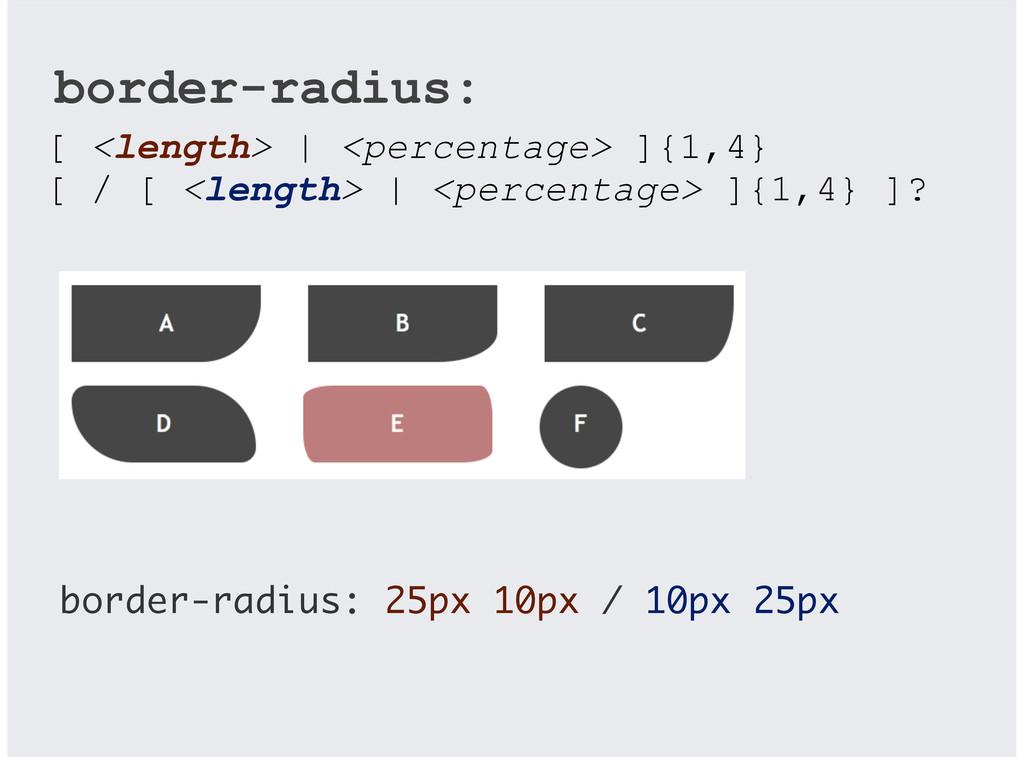 border-radius: 25px 10px / 10px 25px [ <length>...