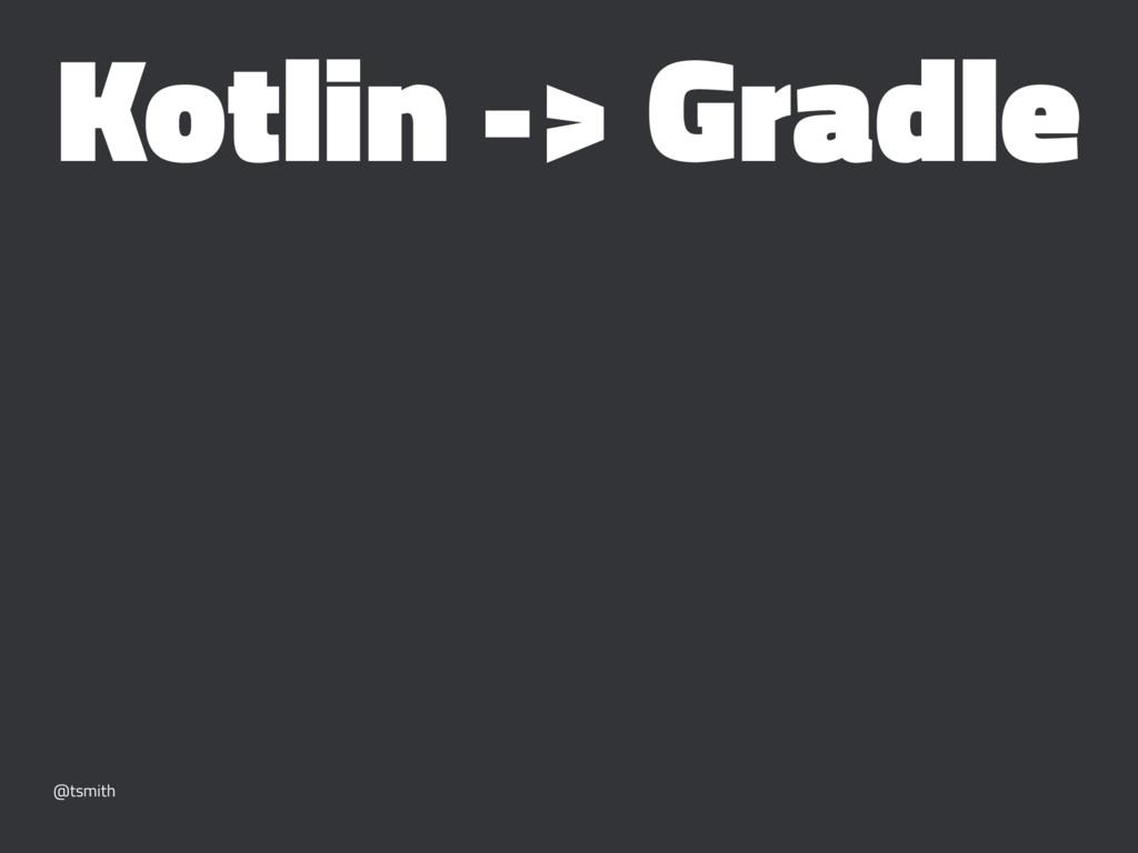 Kotlin -> Gradle @tsmith