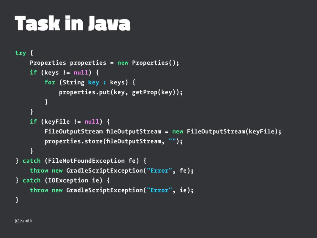 Task in Java try { Properties properties = new ...
