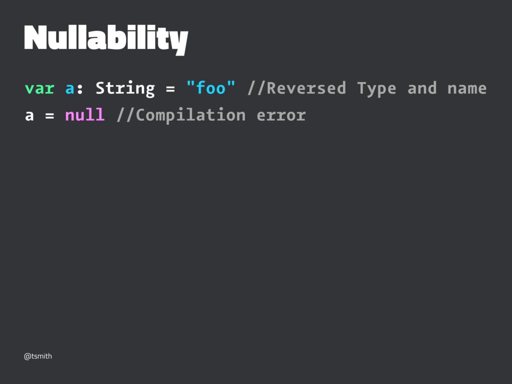 "Nullability var a: String = ""foo"" //Reversed Ty..."