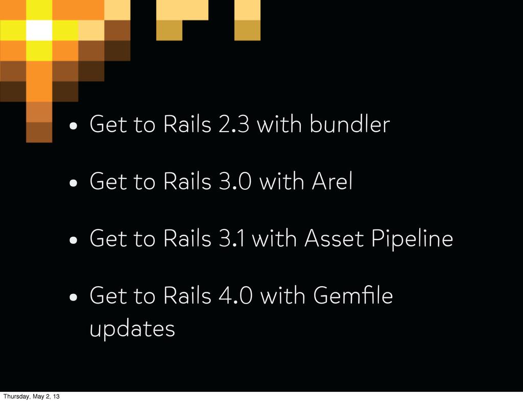 • Get to Rails 2.3 with bundler • Get to Rails ...
