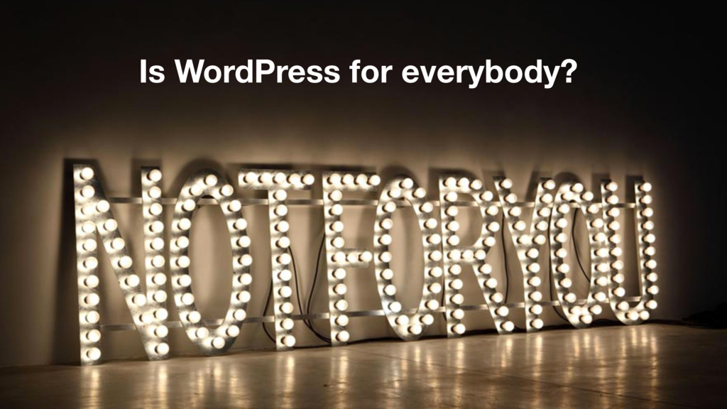 Is WordPress for everybody?