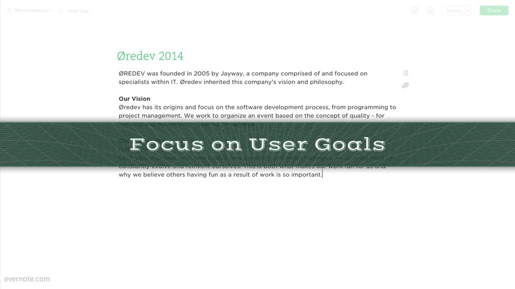 Focus on User Goals evernote.com