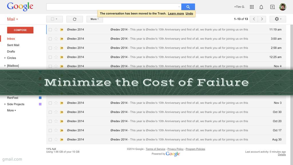 Minimize the Cost of Failure gmail.com