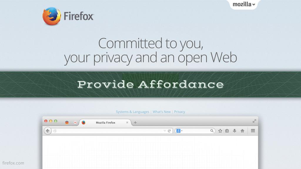 Provide Affordance firefox.com
