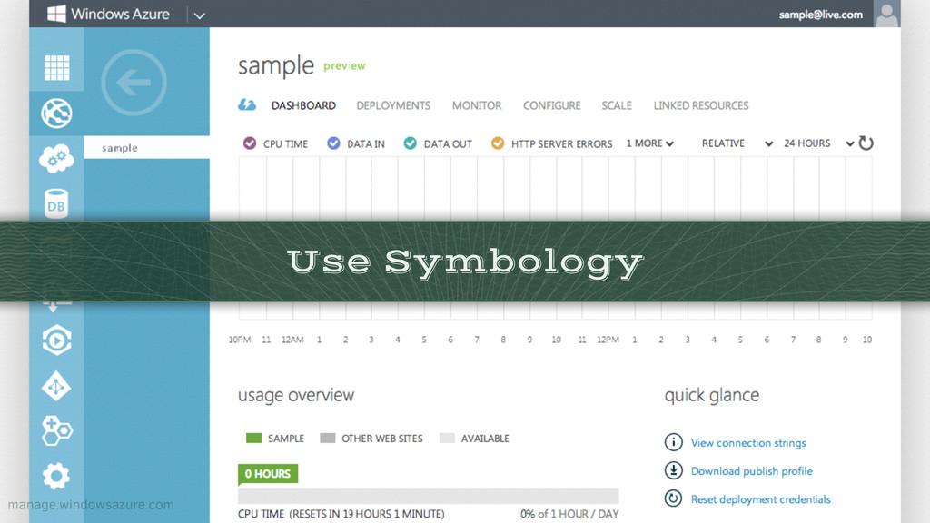 Use Symbology manage.windowsazure.com