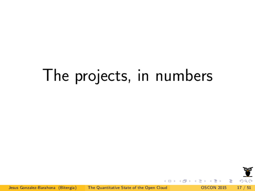 The projects, in numbers Jesus Gonzalez-Barahon...