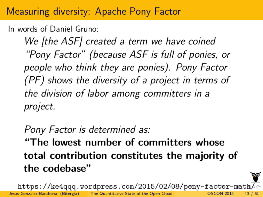 Measuring diversity: Apache Pony Factor In word...