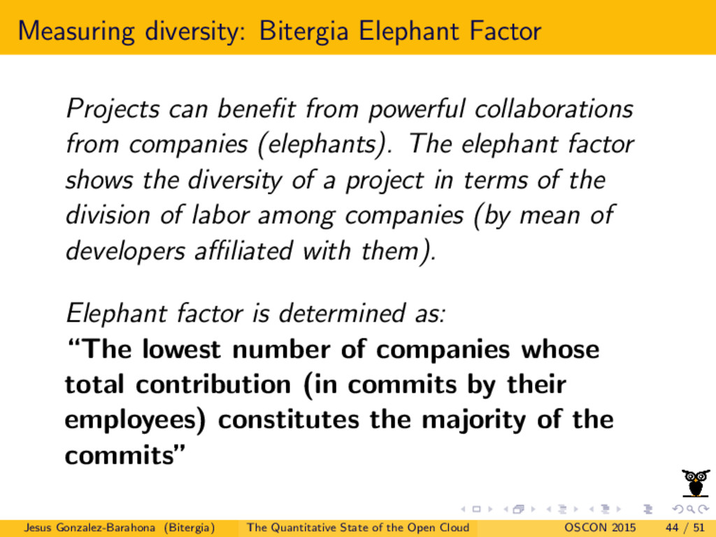 Measuring diversity: Bitergia Elephant Factor P...