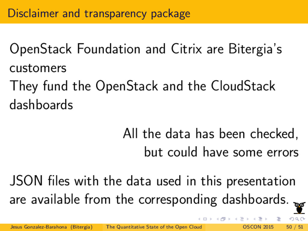 Disclaimer and transparency package OpenStack F...