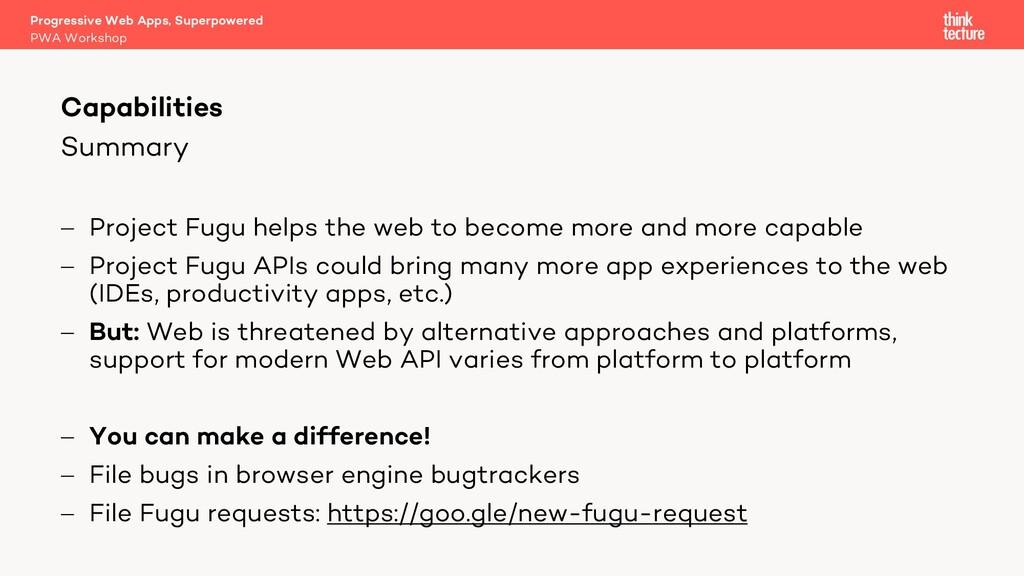 Summary - Project Fugu helps the web to become ...