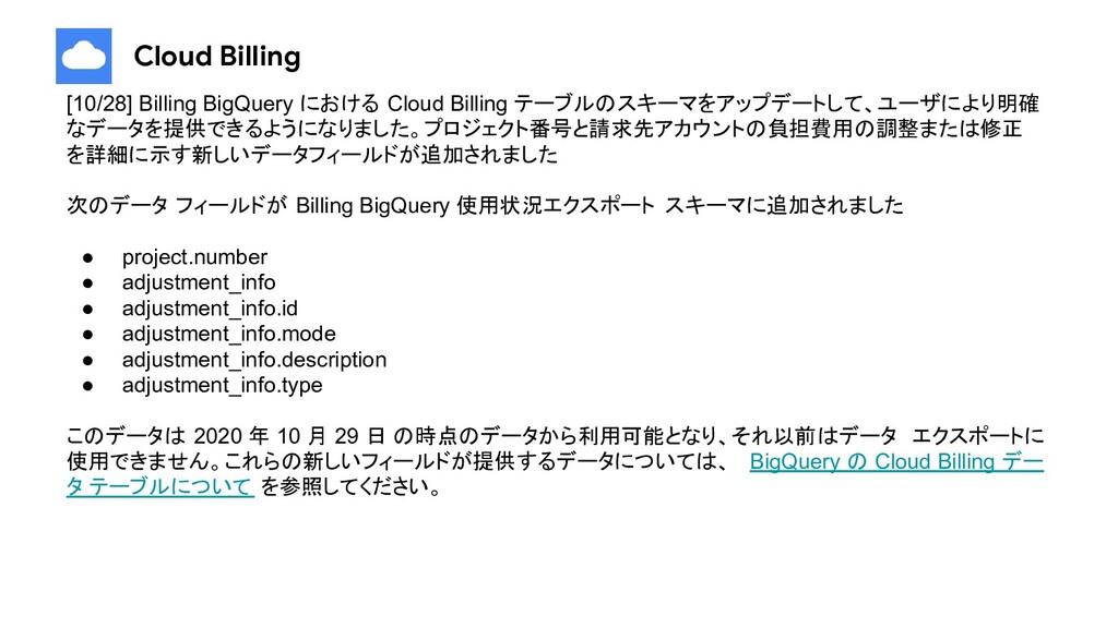 Cloud Billing [10/28] Billing BigQuery における Clo...
