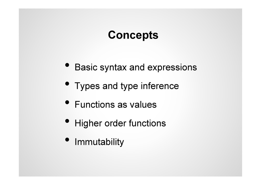Concepts •  Basic syntax and expressions •  Typ...