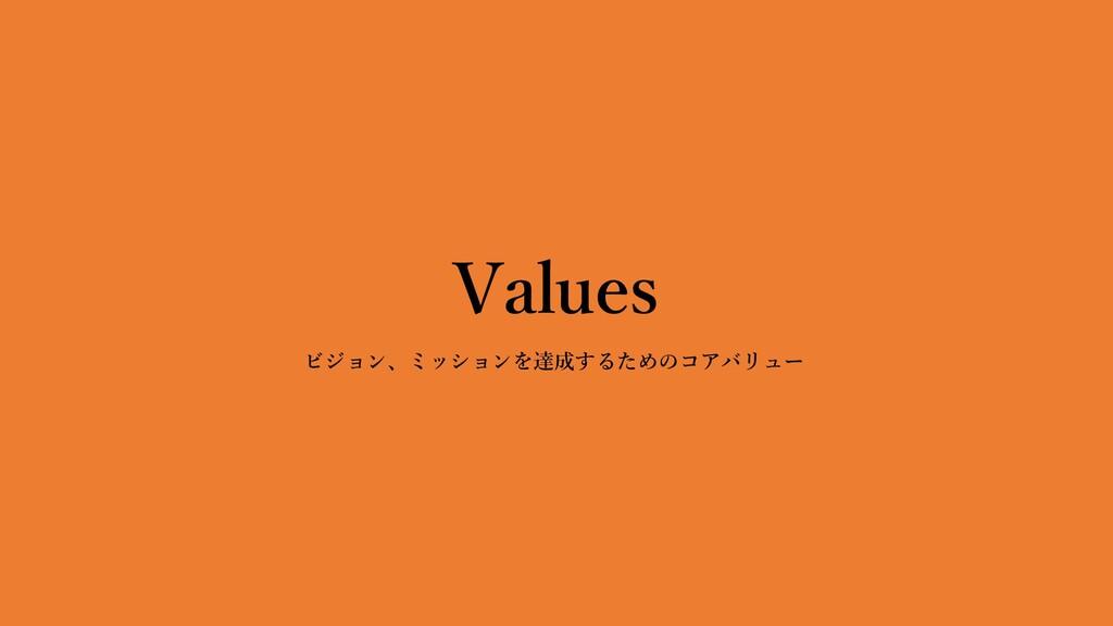 Values ビジョン、ミッションを達成するためのコアバリュー