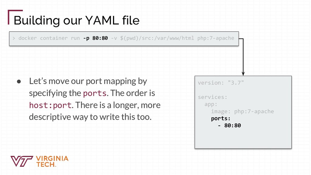 Building our YAML file ● Let's move our port ma...