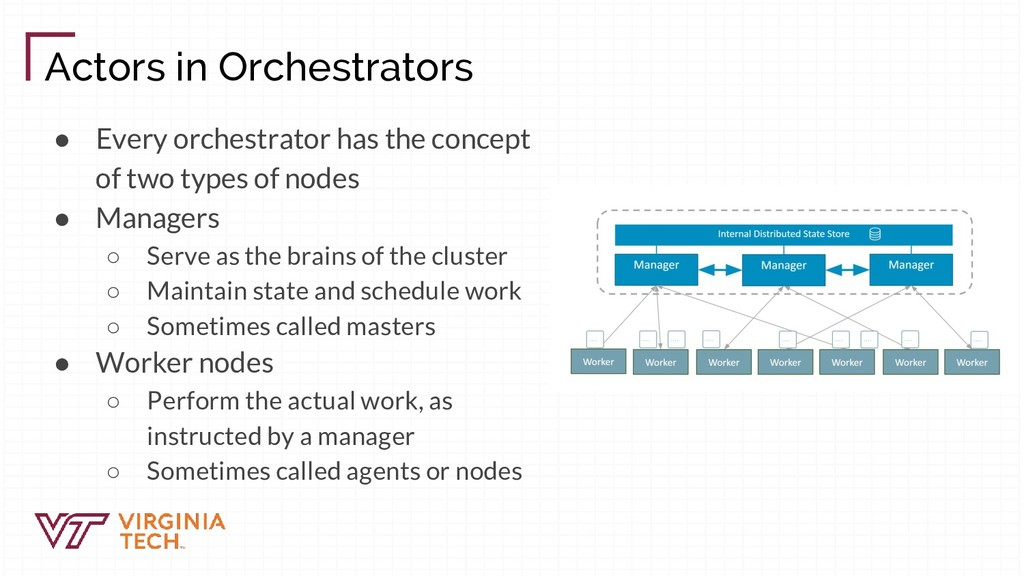 Actors in Orchestrators ● Every orchestrator ha...