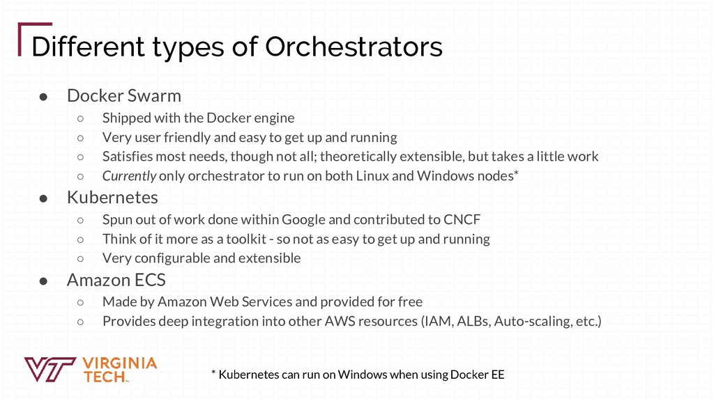 Different types of Orchestrators ● Docker Swarm...