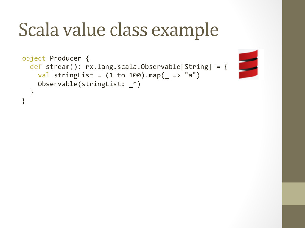 Scala value class example  object...