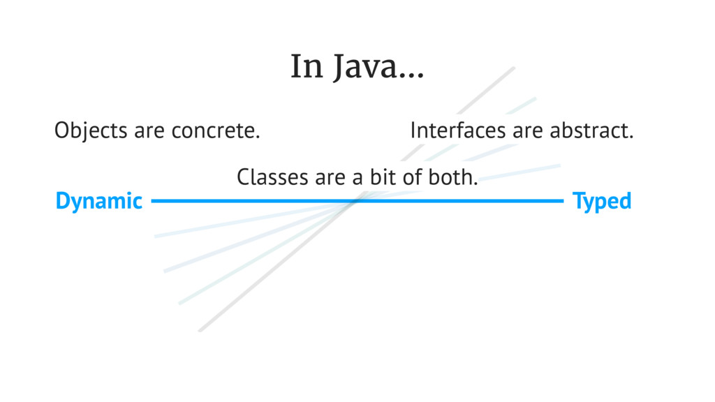 Typed Dynamic In Java... Objects are concrete. ...