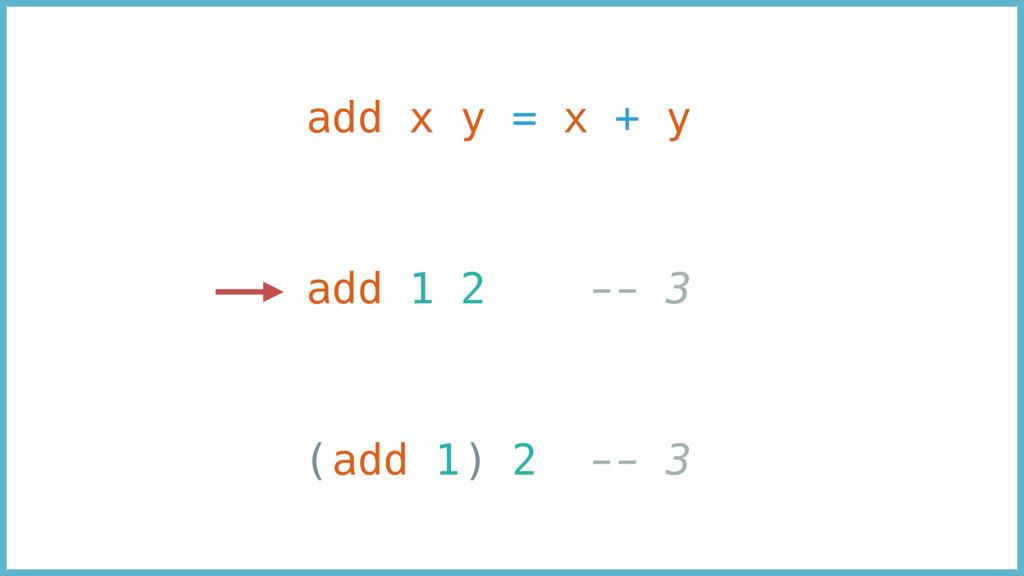 add x y = x + y add 1 2 -- 3 (add 1) 2 -- 3