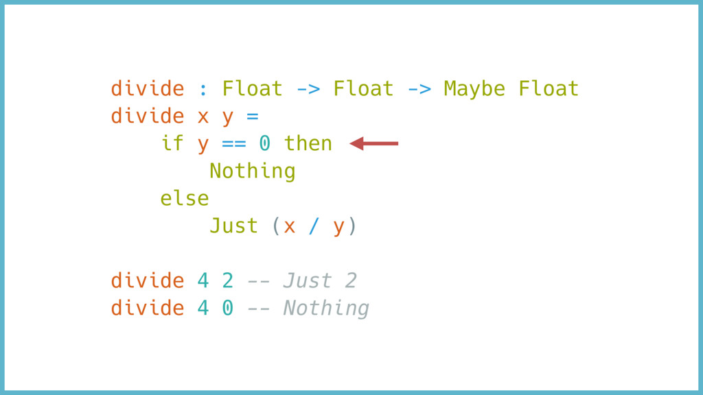 divide : Float -> Float -> Maybe Float divide x...