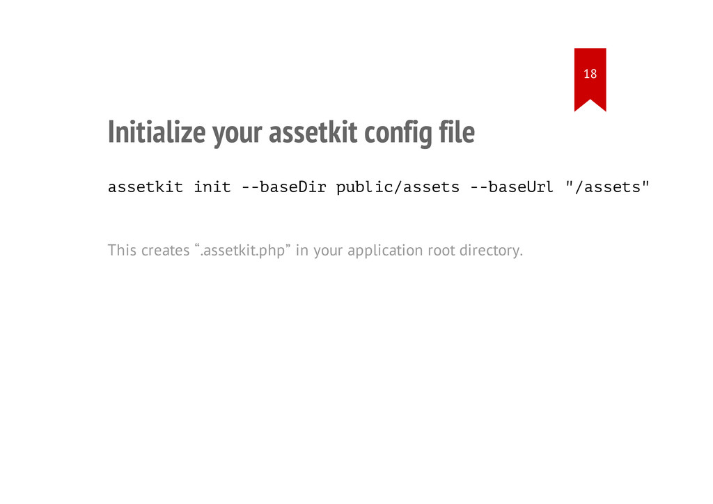 Initialize your assetkit config file assetkit i...