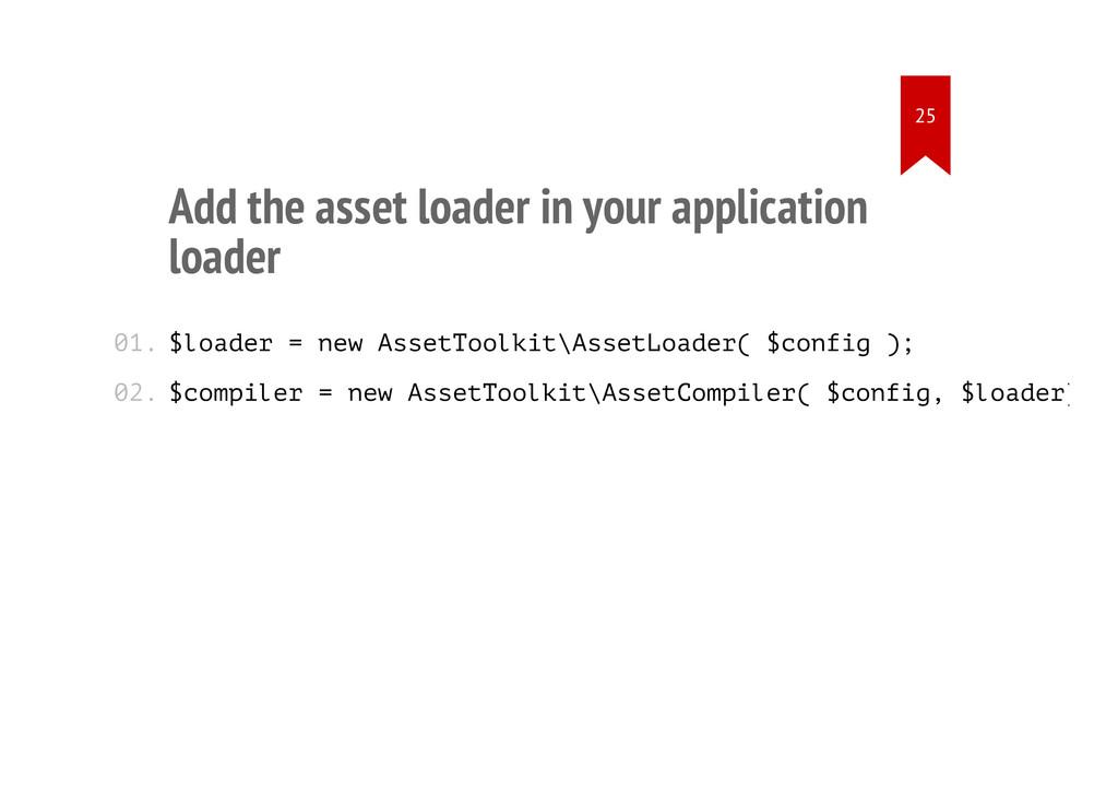 Add the asset loader in your application loader...
