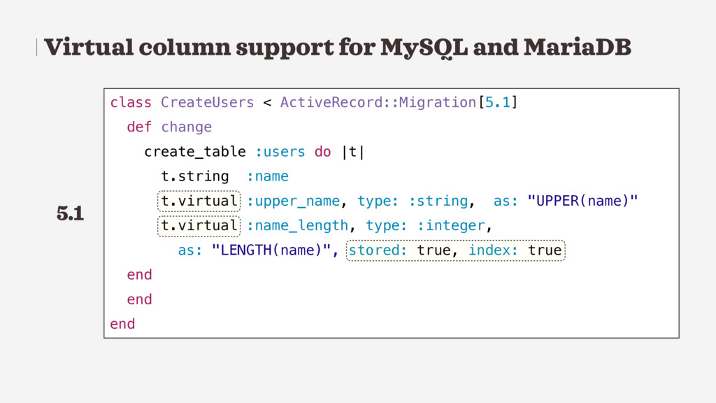 Virtual column support for MySQL and MariaDB cl...