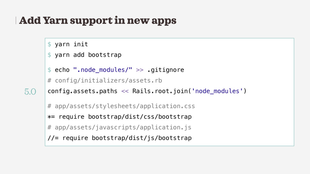 Add Yarn support in new apps $ yarn init $ yarn...