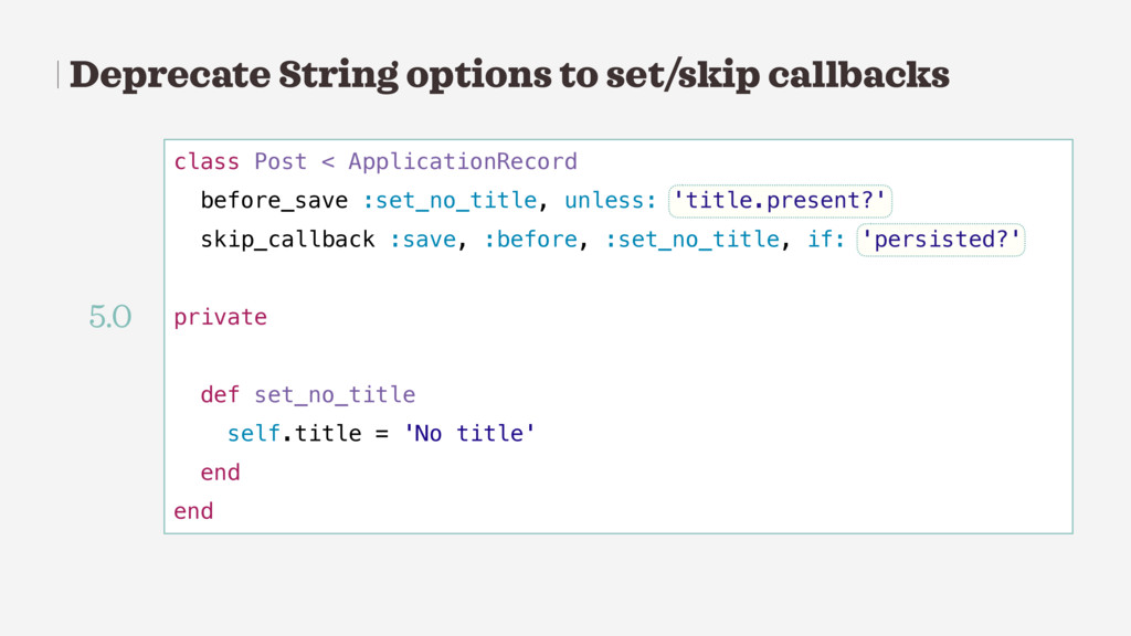 Deprecate String options to set/skip callbacks ...