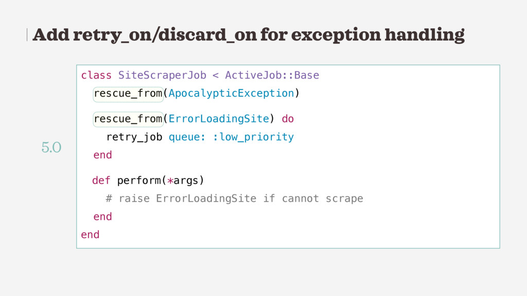 Add retry_on/discard_on for exception handling ...