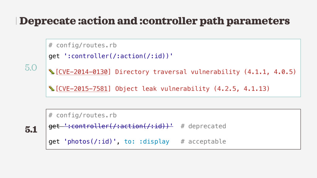 Deprecate :action and :controller path paramete...
