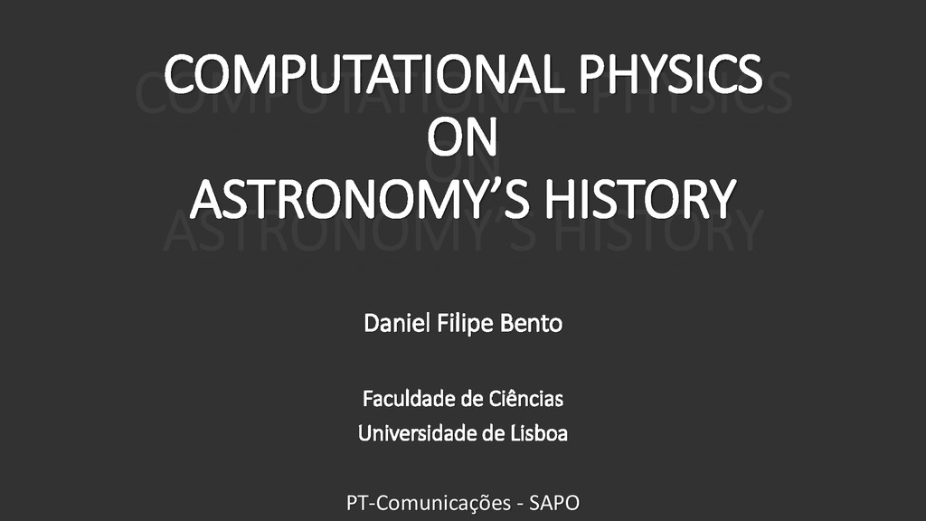 COMPUTATIONAL PHYSICS ON ASTRONOMY'S HISTORY Da...