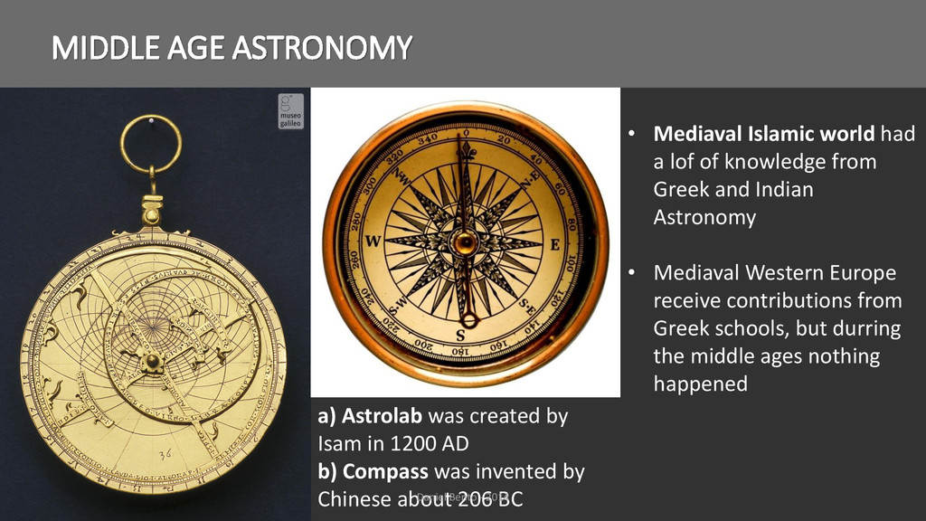 MIDDLE AGE ASTRONOMY a) Astrolab was created by...