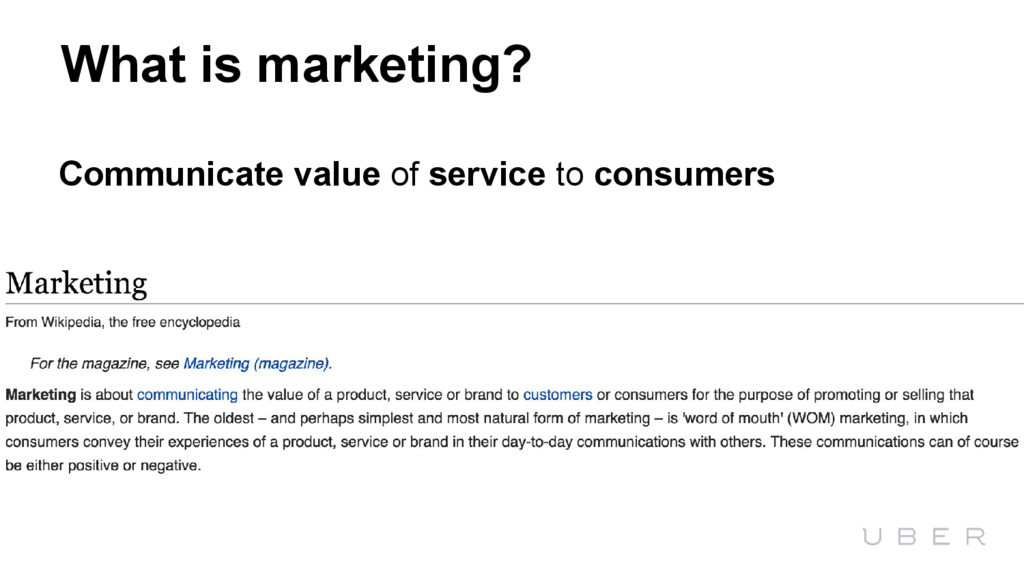 What is marketing? Communicate value of service...