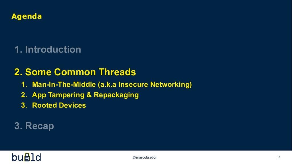 15 Agenda 1. Introduction 2. Some Common Thread...