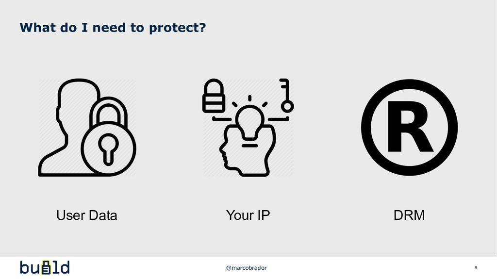 What do I need to protect? 8 User Data Your IP ...