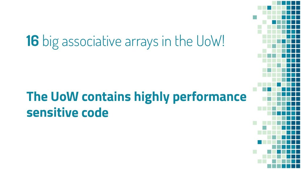 16 big associative arrays in the UoW! The UoW c...