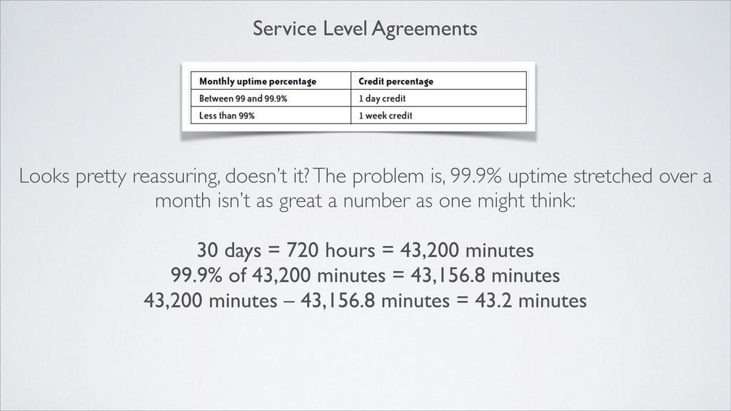 Service Level Agreements Looks pretty reassurin...