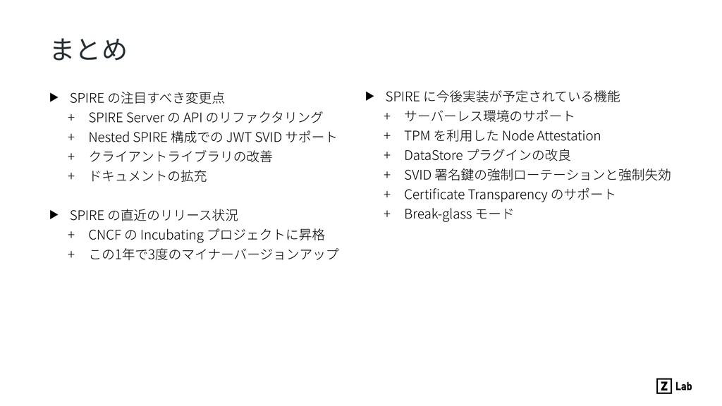 まとめ ▶ SPIRE の注⽬すべき変更点 + SPIRE Server の API のリファ...