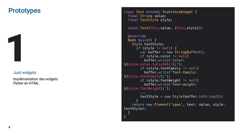 8 Prototypes Just widgets Implémentation des wi...