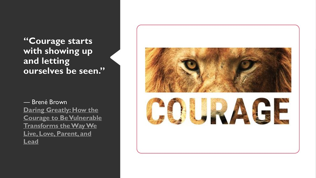 """Courage starts with showing up and letting our..."