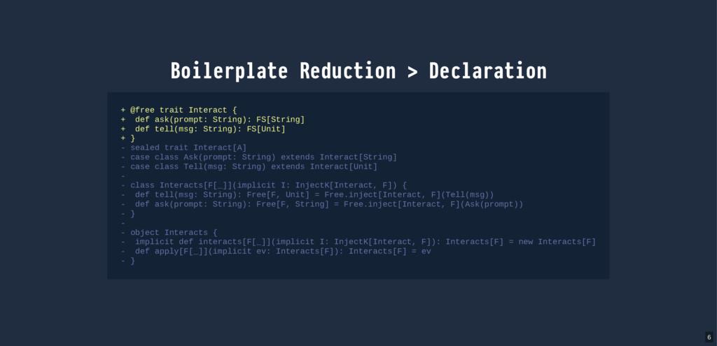 Boilerplate Reduction > Declaration + @free tra...
