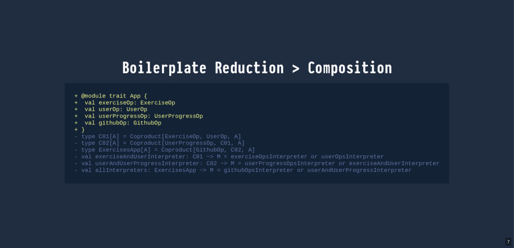 Boilerplate Reduction > Composition + @module t...