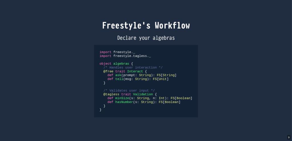 Freestyle's Workflow Declare your algebras impo...