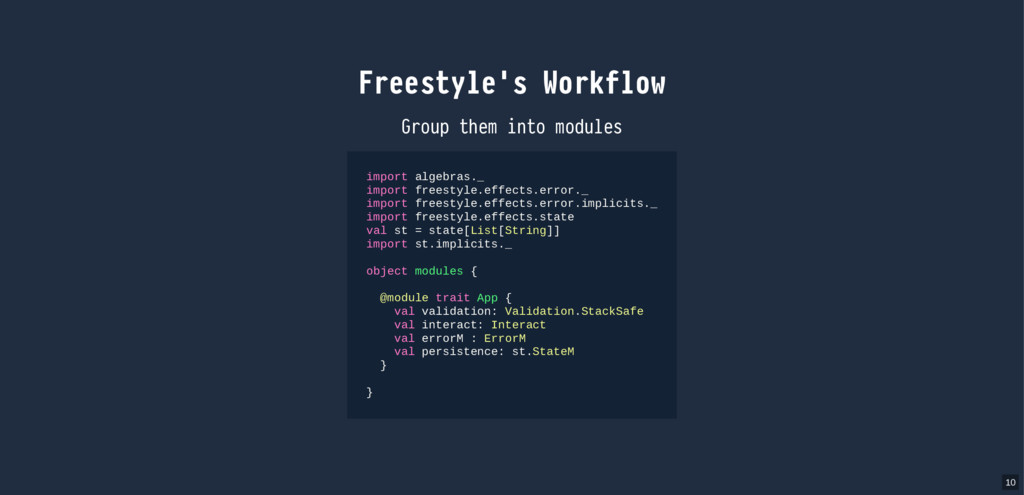 Freestyle's Workflow Group them into modules im...